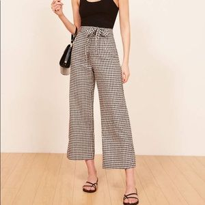 REFORMATION Saylor Pants in Gingham, Size 6!